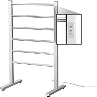 SHARNDY 6-Bars Portable Electric Towel Warmer with Built-in Timer Freestanding Drying Rack for Home Bathroom Stainless Steel Brush Finish