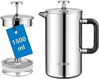 Ecooe 1,5 l fransk press kaffebryggare rostfritt stål dubbelvägg kaffepress (1 500 ml)