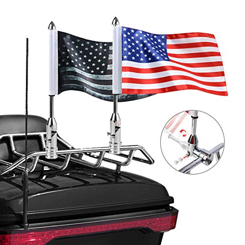 2 PCS Motorcycle Flag Pole with American Flag and Pirate Safety Flag 6.7'' x 10.2'' Foldable 90° Flag Pole Bracket Fit for 1/2'' Tubular Luggage Rack Harley Touring Spring Honda Goldwing etc.