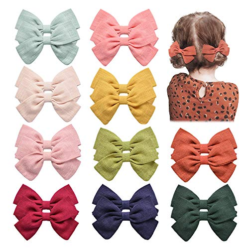 20PCS Baby Girls Hair Bows Clips Hair Barrettes Accessory for Babies Infant Toddlers Kids in Pairs (Navy Red Green)