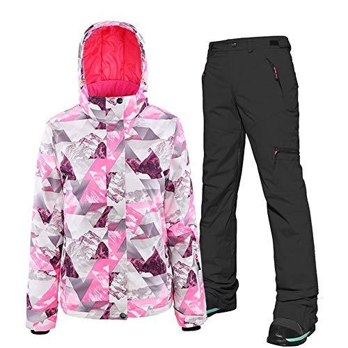 HUXIZ Skianzug 2019 Frauen Arbeiten Frauen Skianzug Red Camouflage Erwachsene verdicken Doppel Snowboard-Jacke Hose Set (Farbe : 5, Size : XL)