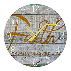 TattyaKoushi Fashion Record Wooden Wall Clocks Vintage Home Decor Faith Quote Silent & Non-Ticking Rustic Country for Living Room,Bedroom,Kitchen,Office Round 13x13 Inch,3434cm
