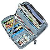 Lavemi Women's RFID Blocking Leather Zip Around Wallet Large Phone Holder Clutch Travel Purse Wristlet(Large Size Light Blue)