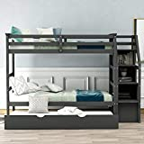 Danxee Bunk Beds for Kids, Over Twin Bed with Trundle, Wooden Twin Bed with 3 Storage Drawers and Safety Rail Ladder, Teens Bedroom Bed, Guest Room Furniture (Gray)