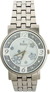 Sunex Women's White Dial Stainless Steel Band Watch, S6385SW