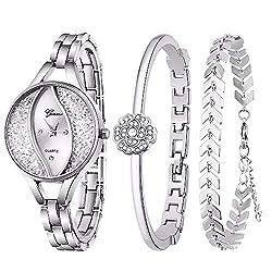 Silver Bangle & Bracelet Jewelry Set Analog Quartz Wrist Watch