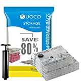 SUOCO Space Saver Bags (4 Jumbo, 4 Large) Vacuum Storage Sealer Bags for Blankets Clothes Pillows Comforters with Hand Pump - 8 Combo
