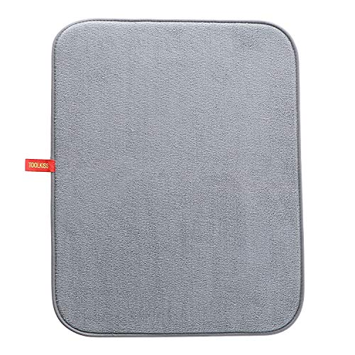 "TOOLKISS Microfiber Dish Drying Mat with Cloth Hanging Hook,Kitchen Counter Pad Pot Bar Coffee Baby Bottles Drain Mat, 20""15.6"" Gray TK19013"