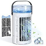Hommie Portable Air Conditioner, 4 in 1 Personal Air Cooler with 2 Fans, 8 Colors LED Light and 3 Speeds, Small Desk Cooling Fan for Home, Office, Room