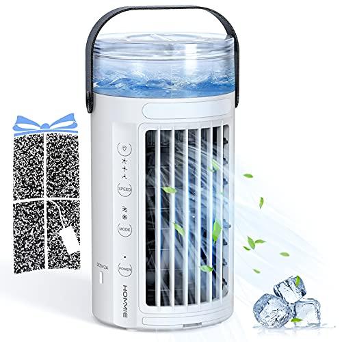 Hommie Aire Acondicionado Portátil, 4 EN 1 Enfriador de Aire Dobles Ventiladores para Aire Frío Fuerte/3 Velocidades/45db Silencio/7 Colores LED Luces, Aire Acondicionado Mesa para Oficina y Hogar