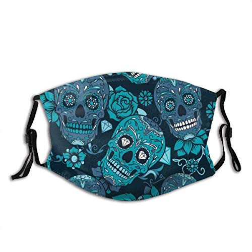 Face mask reusable Colorful Sugar Skull with Floral Ornament and Flower Pattern Balaclava Unisex Reusable Windproof Anti-Dust Mouth Bandanas Made in USA
