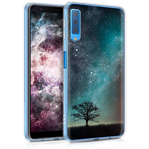 kwmobile Hülle kompatibel mit Samsung Galaxy A7 (2018) - Handyhülle - Handy Hülle Galaxie Baum Wiese Blau Grau Schwarz