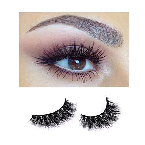 BNIIY 3D Mink Fake Eyelashes Lashes Cross Thick Fluffy Long Soft And Comfortable Hand-Made False Lashes, Black