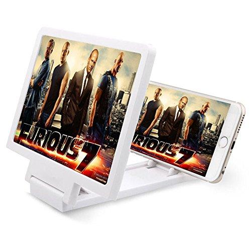 3D Telefoon Scherm Vergroter, Opvouwbare Smart Telefoon Scherm Versterker Telefoon Houder Stand, Movie Versterker voor Alle Smartphone, Beschermen Ogen (8,2 inch, Wit)