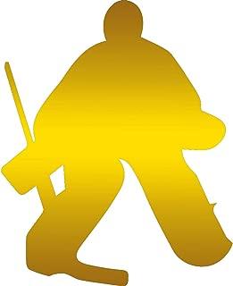 USC DECALS Solid Hockey Goalie (Metallic Gold) (Set of 2) Premium Waterproof Vinyl Decal Stickers for Laptop Phone Accessory Helmet Car Window Bumper Mug Tuber Cup Door Wall Decoration