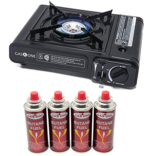 Gas One Portable Butane Gas Stove with 4 Pack Fuel and Carrying Case - Black