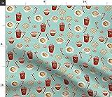 Spoonflower Stoff – Aquarell-Latte, Kaffee, Donuts,