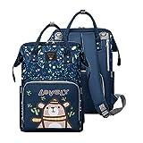 Baby wickelrucksack Wickeltasche Rucksack mit USB für Reisen Wasserdicht Oxford Multifunktional Große Kapazität Wickeltasche Rucksack-Blau 15.7x10.2 x 7.1 inch