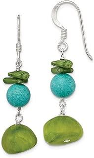 925 Sterling Silver Dangle Shepherd hook Dyed Jade Green Simulated Coral Dyed Howlite Earrings