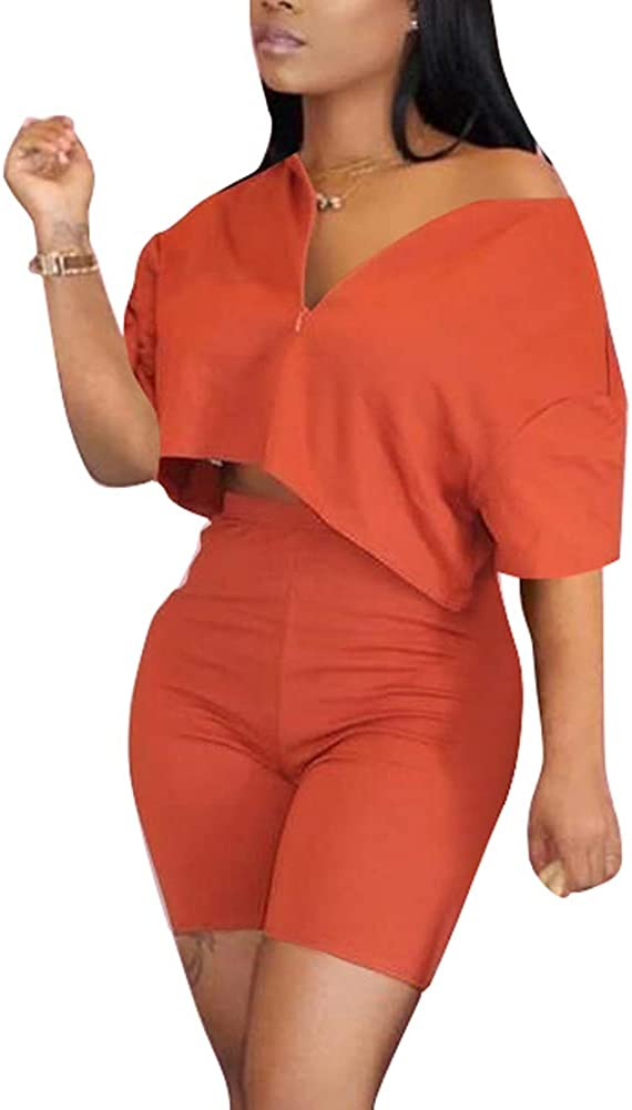 ECHOINE Womens Sexy Two Elegant Piece Outfits Loos Short Sleeve V Neck Time sale -