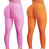 Dosoop 2Pcs Womens High Waisted Yoga Pants Tummy Control Scrunched Booty Leggings Workout Running Butt Lift Textured Tights