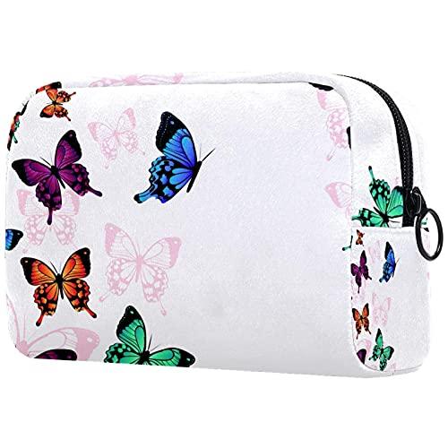Kit de Maquillaje Neceser Mariposa Azul Violeta Make Up Bolso de Cosméticos Portable Organizador...
