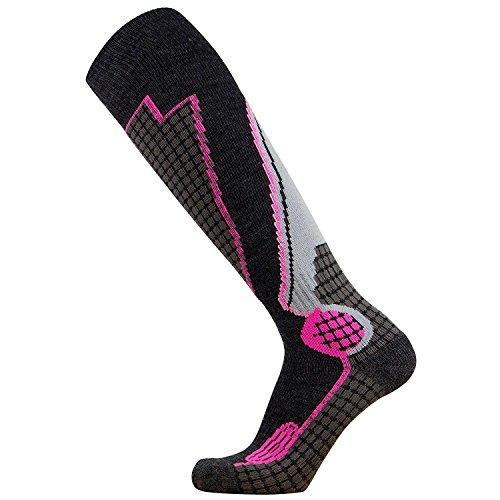 Pure Athlete High Performance Wool Ski Socks – Outdoor Wool Skiing Socks, Snowboard Socks (Black/Grey/Neon Pink, Small)