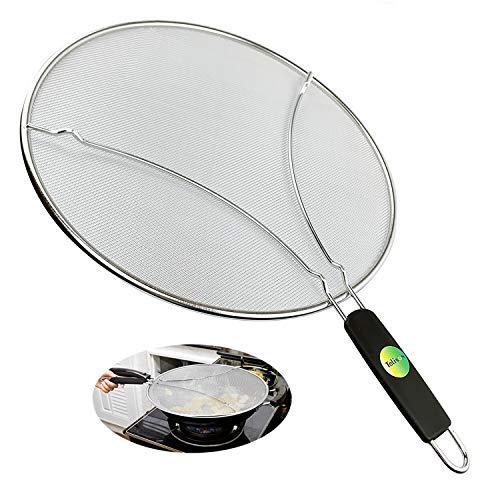 Grease Splatter Guard, Splatter Screen for Frying Pan 13' Large Stainless Steel Mesh Hot Oil Splash Protect Cover Iron Skillet Lid Avoid Burns for Cooking Grilling BBQ