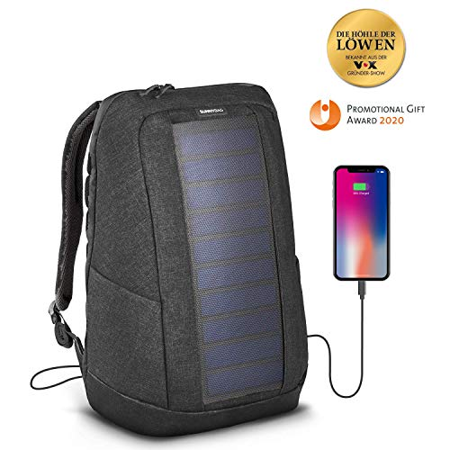 SunnyBAG Iconic solar Charging Backpack with 7 Watt solar Panel in cool-Gray, Charge Smartphones, Tablets, smartwatch + USB/dual-USB-Port