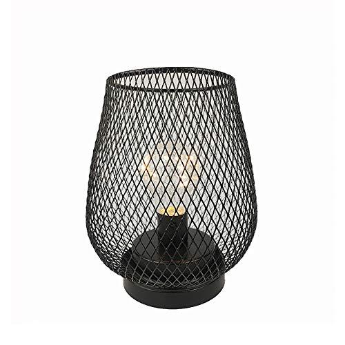 Linterna de jaula de metal, lámpara de jaula, lámpara de noche hueca, funciona con pilas, lámpara de mesa para el hogar, bar, oficina, tipo taza