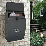 Buzón de pared negro para colgar al aire libre de la puerta impermeable del periódico de la revista del periódico con el buzón bloqueado