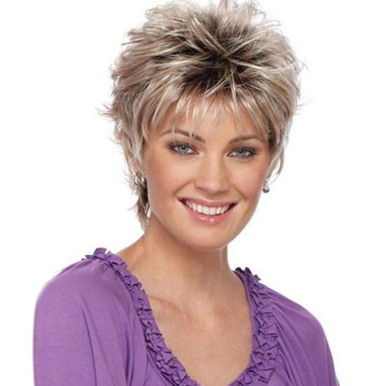 誕生日予測するシネマYOUQIU 女子ショートカーリー波状のかつらグレー人工毛フルウィッグのかつら (色 : グレー)