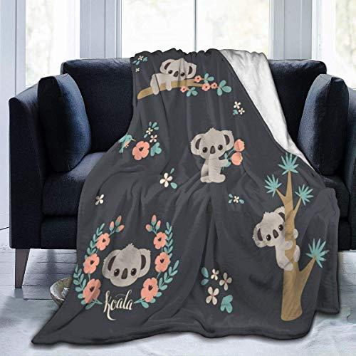 Manta De La Siesta Felpa Sofás Franela Linda Manta de Koala Animal en 3D como extensión/Colcha/Cubierta Suave,cálida y acogedora 80'x60' Buen sueño Warm Lightweight Fleece Cozy Blanket