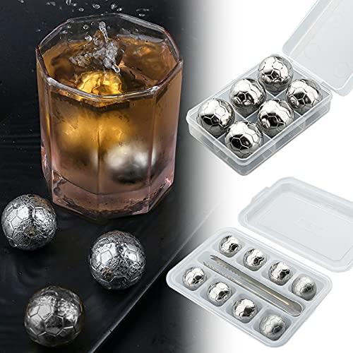 ZS ZHISHANG Cubitos de hielo reutilizables, piedras de whisky, bola de hielo de acero inoxidable con pinzas, lavables, fáciles de usar para bebidas, 6/8 unidades