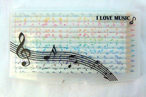 Music Themed 12 Coloured Pencils in clip on plastic case
