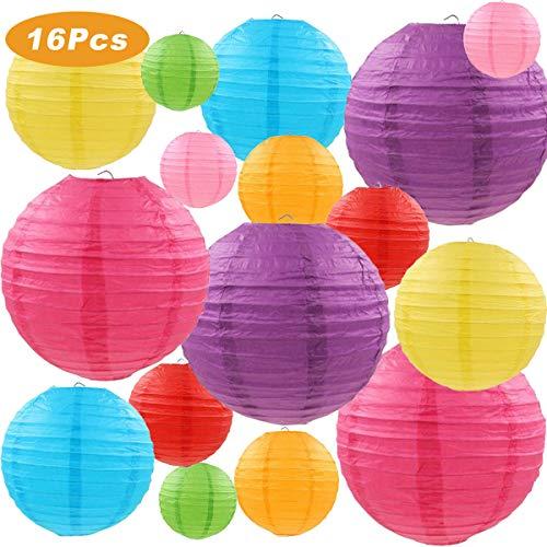 """GerTong 16 Stück Bunte Papierlaternen (Multicolor, Größe 4 """", 6"""", 8 """", 10"""") - Chinesisches/Japanisches Papier zum Hängen Dekorationen Ball Laternen Lampen für Wohnkultur, Partys und Hochzeiten"""