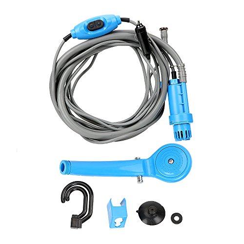 Herramienta de ducha de viaje para acampar al aire libre con encendedor de cigarrillos portátil ducha de coche (azul)