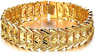 Suyi Men's 18K Gold Plated Link Bracelet Classic Carving...