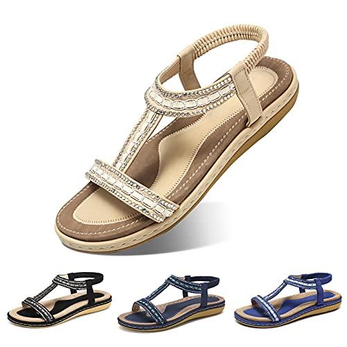 Camfosy Damskie płaskie, letnie japonki, sandały plażowe, elastyczne, przytulne, z wzorem tkanym, buty kolorowe ze strasem, pasek na kostkę, na urlop, antypoślizgowe, na lato, czarne, beżowe, niebieskie, - beżowy 1 - 39 eu