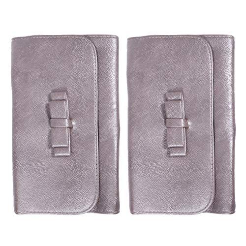 Lurrose 2pcs maquillage étui en cuir bowknot sac de rangement pinceau cosmétique pochette portable pour les femmes (rose)