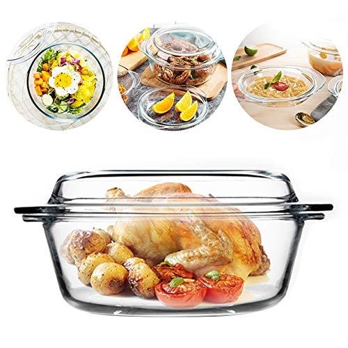Cacerola con tapa – Cuenco de vidrio – Horno de cocción – Fácil agarre – Apto para microondas – Nevera – 2,8 l