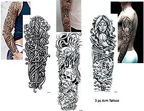 3 Sheet volle arm tattoo zwart fake tattoo schedel...