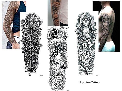 3Sheet completa Arm Tattoo Negro Fake Tattoo Calavera Espada Cuchillo Longitud 45cm