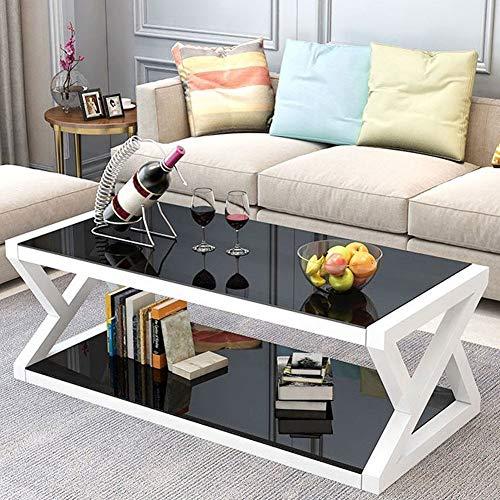 Couchtisch aus Gehärtetem Glas Beistelltisch Wohnzimmertisch Modernes Design Glastisch Kaffeetisch Sofatisch Großer Teetisch Schwarz 99,5 x 50 x 44 cm