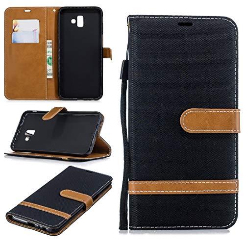 Dmtrab Thone Case para Samsung Galaxy J6 Plus /J6 Prime Funda de la Billetera,Caja de protección de Cuero de Piel de Mezclilla a Juego con Soporte y Ranuras para Tarjetas y cordón(Negro) Manga