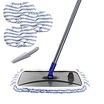 Masthome Large Surface Microfiber Flat Mop with 3 Reusable Mop Heads Cleaning Comb and Telescopic Handle Household Mop for Hardwood Laminate Tile Ceramic Floor Cleaning