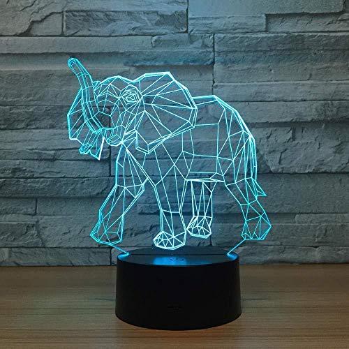 3D Illusion Lampe Weihnachtsgeschenk Nachtlicht Nachttischlampe afrikanischen Elefanten 7 Farben Touch-Schalter Schreibtisch Dekoration Lampe Geburtstagsgeschenk, Acryl Tablet und ABS-Basis und USB-K
