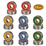 Spruce Skateboard Bearing, ABEC-9/ABEC-11 High Speed Wearproof Skating Steel Wheel Roller, Precision Skate Bearings for Longboard, Kick Scooter, Inline and Roller Skates (abec-11 (Colorful)- 16 Pack)