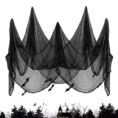 BOJLY Halloween Dekoration Stoff mit 44 Stücke 3D Fledermaus Wandsticker Set, 600 X 215 cm Horror Deko Dekostoff Tuch Decke für Garten Windows Tisch Türen Deko Halloween Party Prop, Schwarz