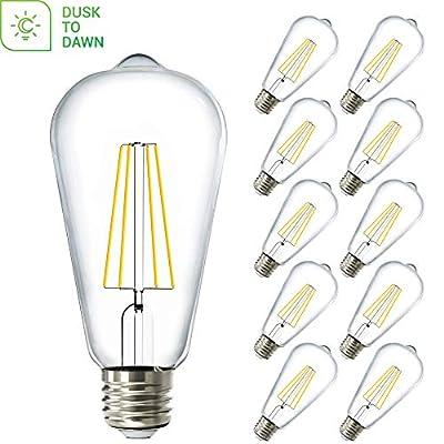 Sunco Lighting 10 Pack ST64 LED Bulb, Dusk-to-Dawn, 7W=60W, 5000K Daylight, Vintage Edison Filament Bulb, 800 LM, E26 Base, Outdoor Decorative String Light - UL, Energy Star